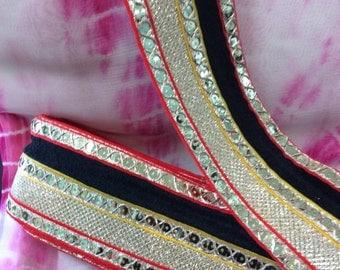 Red & Black Sari Border. Price Per Yard
