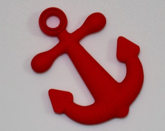 CLEARANCE - 20% OFF - Silicone Anchor Pendant in Red - Silicone Teething, Silicone Teether, Teething Pendant