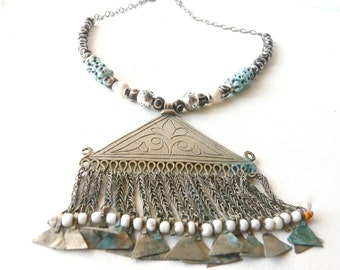 Necklace white and blue turkoman pendant afghan wood