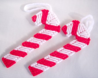 Christmas Ornaments Candy Canes Set of Four Plastic Canvas