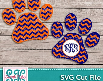 Chevron Paw Print SVG JPG PNG {Scrapbook Die Cut Heat Transfer Vinyl Cut} Cricut svg Silhouette svg Instant Download Panther Paw Mascot svg