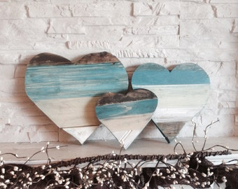 Hearts - set of reclaimed wood hearts