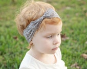 Grey Lace Knotted Headband | Baby Girl Lace Top Knot | Modern Bow Turban Head Wrap