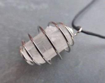Caged Rock Quartz Crystal Point Pendant Necklace - Crystal Healing - Chakra - Boho - Gypsy - Pagan - #RC1