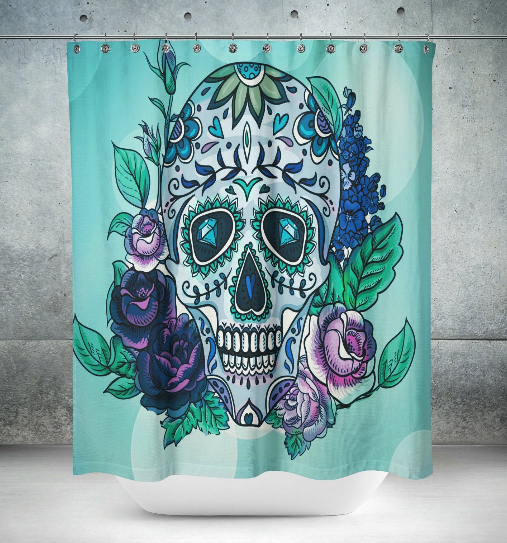 Purple and teal shower curtain