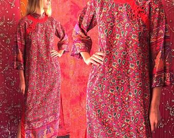 ON SALE India Dress Indian Boho Block Print India Caftan 70s Ramona RULL Cheongsam Caftan
