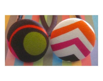 Modern Chevron and dots Print set of 2 button Ponytail Holders