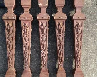 Antique Cast Iron Garden Stairway Spindles, Posts, 1920's 30's Art Deco