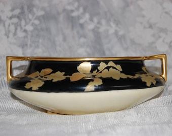 Porcelain Gilded Acorn Old Czech Handled Bowl or Vase Signed