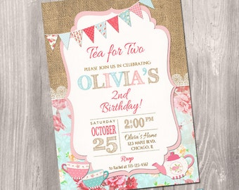 Tea For Two Invitation, Tea Party Invitation, 2nd Birthday Invitation, Tea  For 2