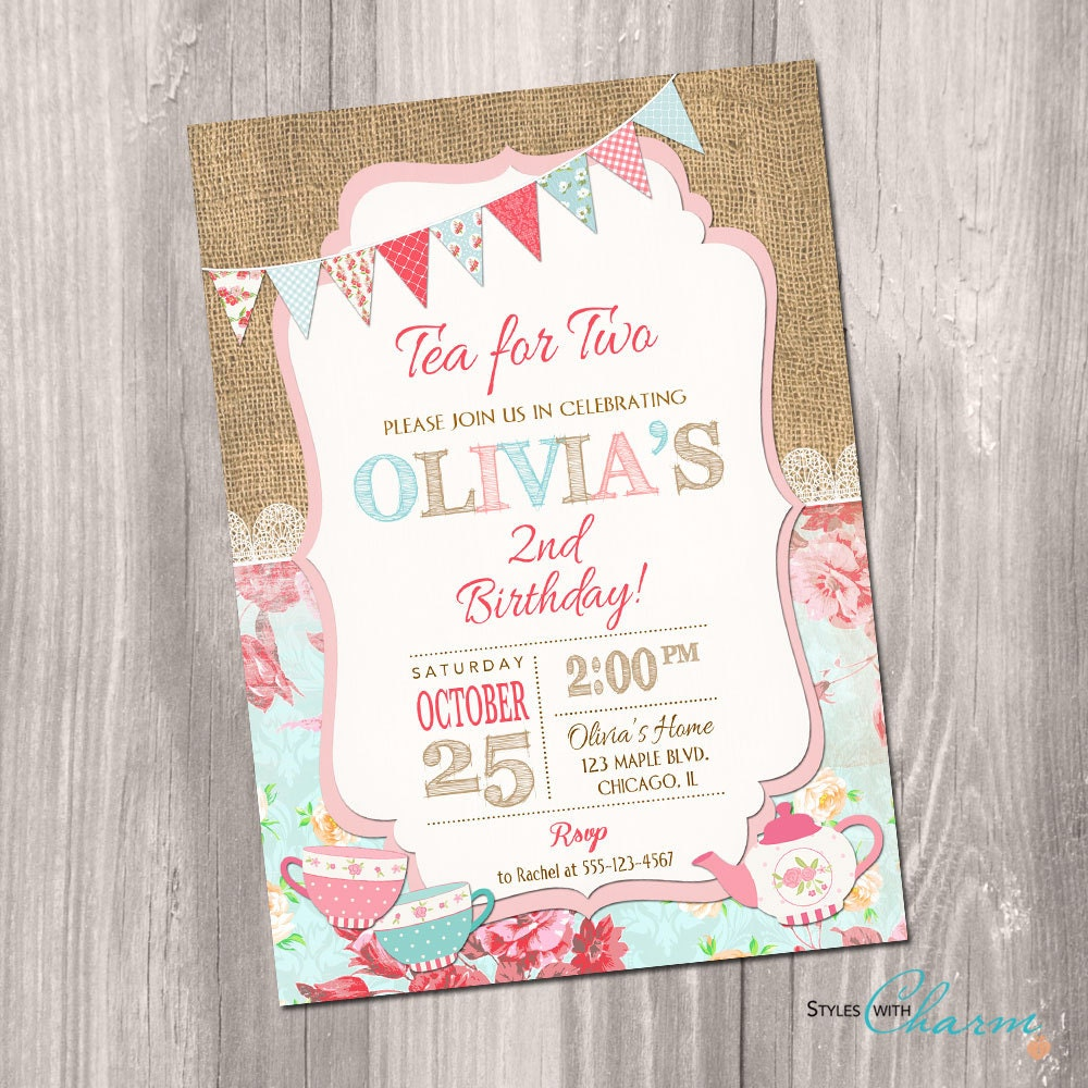 Tea for two invitation tea party invitation 2nd birthday – Tea Birthday Party Invitations