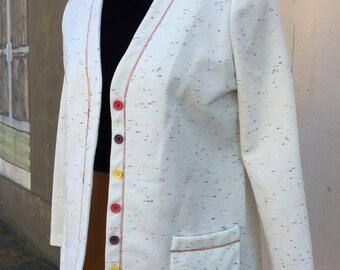 Ladies white textured vintage blazer; 70s Act I ladies blazer