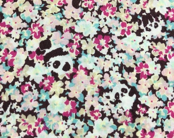 Half Yard- Spot the Panda/ a busy flower print in Pink/ Fuchsia/light blue colour- Cosmo Textile-made in Japan