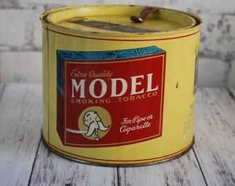Vintage Model Tobacco Tin, 1940's