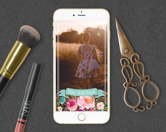 Rustic Floral Snapchat Geofilter to Match Coordinating Rustic Floral Bridal Shower Invitation // Floral Snapchat Geofilter, Rustic, Pretty
