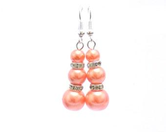 orange pearl earrings, orange earrings, pearl earrings, dangle earrings, earrings, bridesmaid earrings, drop earrings
