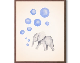 Watercolor Nursery Art, Elephant Nursery Painting, Kids Wall Art, Nursery Wall Art, Nursery Decor, Art Print - E596B