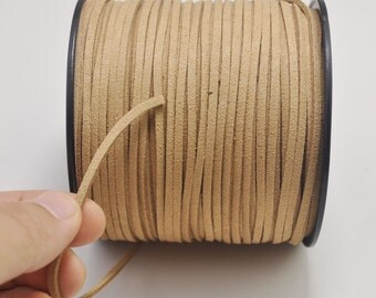 2.7mm Dark Khaki Suede Leather Cord,10 yards Microfiber,Vegan Suede,DIY Cord Supplies,Flat Faux Suede Cord,Supplies -- 23#