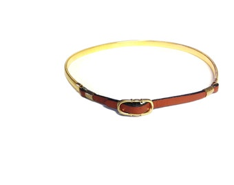 Vintage Gold and Leather Belt - Size Small