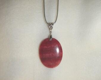Oval Rose Pink Rhodochrosite pendant (JO284)