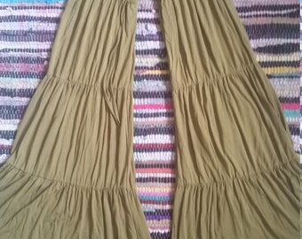 SML Wide Flow Hippie Pants Green Boho