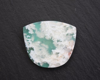 Stinking Water, Plume Agate, over, Chrysocolla, Doublet, Cabochon