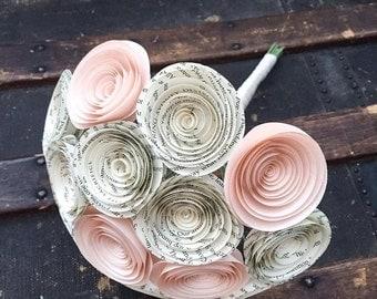 Paper Flower Bouquet - Wedding Bouquet Alternative - Wedding Bouquet - Paper Bridal Bouquet - Paper Flowers - Book Page - Blush Pink Flowers