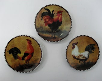 SamLeo's Design 3 Rooster Decoration Plates