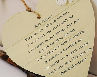 Personalised Thank You Teacher Poem End of Term Heart Plaque gift