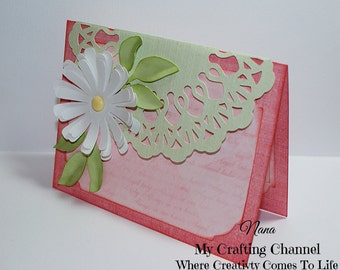 Fancy Floral Lace Card-Friendship Card-Mother's Day Card-Misc Card-Flower Card-Greeting Card-Handmade Card-Dimensional