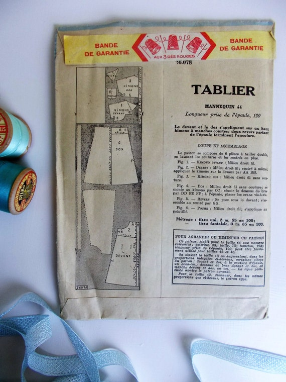 Patron Tablier Vintage Of Unused Unopened Vintage Patron Modele French Sewing