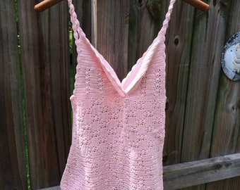 70s VINTAGE CROCHET TOP, baby pink knotted strap handknitted tank