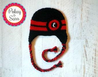 University of Cincinnati Crochet Baby Earflap Hat, Newborn to Toddler Sizes