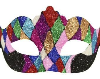 Royal Mardi Gras Inspired Masquerade Venetian Mask Multicolored with Glitter Costume Halloween Dance Prom Ball. PM027