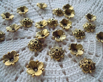 30 Antique Gold Finish Beautiful Domed Flower Caps. 4 Petals and Dots. 9x3mm  ~USPS Ship Rates from Oregon