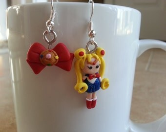 Sailor Moon Inspired Polymer Clay Dangle Earrings
