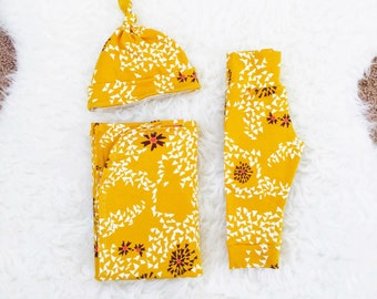Mustard Seed Newborn Swaddle Set, Newborn Swaddle, Newborn Swaddle Wrap, Newborn Swaddle Blanket, Newborn Going Home Outfit Girl