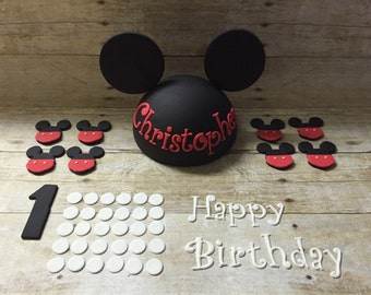 Fondant Mickey Mouse Inspired Complete Set Cake Topper