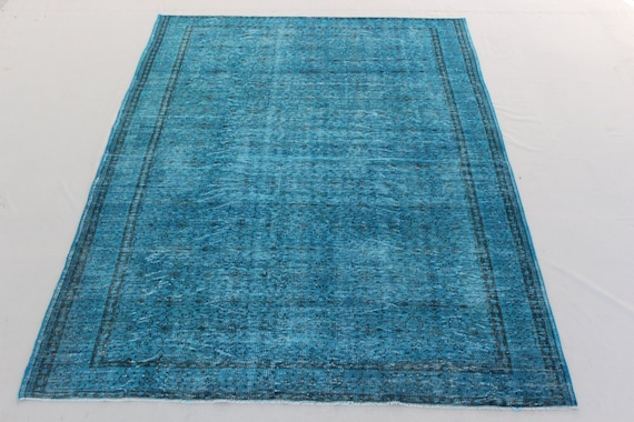 FREE SHİPPİNG 6,9x10,6 ft- 206x320 cm. Blue Color Overdyed Vintage Turkish Rug Handmade Embossed Carpet