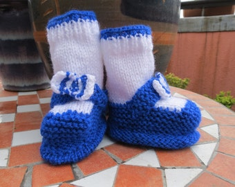 Blue and white booties