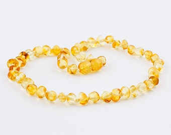 Natural Baltic Amber Baby Teething Necklace with Polished Rounded Yellow Color Beads