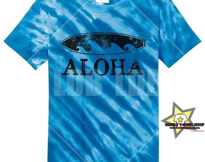 Aloha Surfboard Hawaiian T-Shirt - Tie Die T-Shirt
