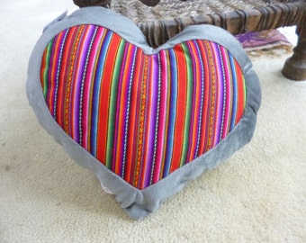 Heart shaped pillow hand crafted in Peru.