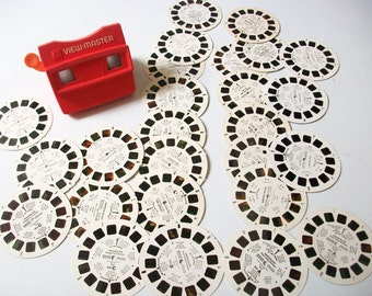 View-Master 3D Viewer w/ 26 Reels, Full House Popeye Mickey Scooby Garfield, etc. Viewmaster 3-D Reels, Vintage Tyco View Master & Reels