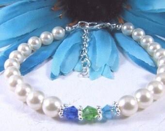 Swarovski Crystals Dark Blue, Green & Sky Blue With Swarovski Creamrose Pearls