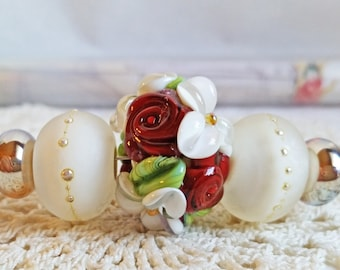 Vintage Series - Burgundy and Ivory Rose Garden Set by Sabrina Koebel  MTO Handmade Lampwork Beads