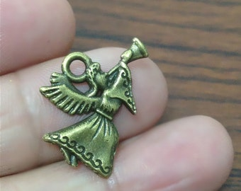 10 Angel Charms with Trumpet, Angel Charms, Antique Bronze Tone Charm, 20mm x 17mm - LJ248923