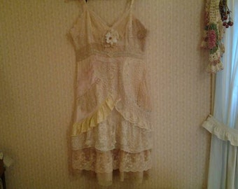 Slip Dress, Lace Wedding, Prom, Formal, Alternative, Upcycled, OOAK, Fairy Princess Lace