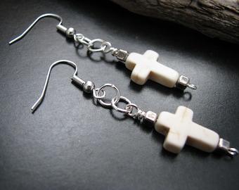 White Turquoise Cross Earrings