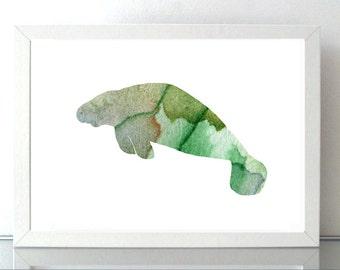 Manatee Art - Manatee Watercolor - art Print - green Home decor Wall Art - florida art - manatee illustration - animal watercolor
